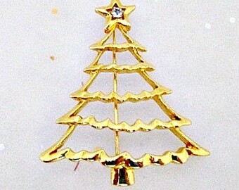 Christmas Tree Vintage Pin Brooch - Vintage Holiday Jewelry Gift