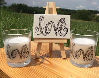LOVE Votive Candle, Unscented Candle, Wedding Decor, Home Decor, Zentangle Word on Candle
