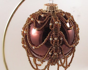 Pearl Drop Ornament Pattern, Beading Tutorial in PDF