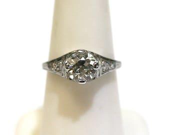 Vintage Edwardian 1.36ct European Cut Diamond Engagement Ring Platinum