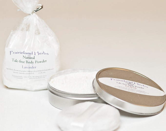 Talc-Free Body Powders with Tin and Puff