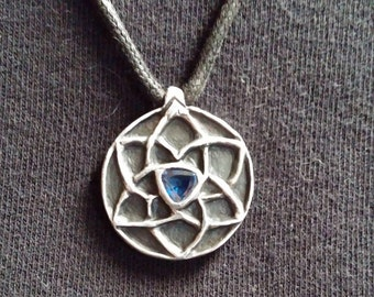 sterling silver pentagram & triscal double sided celtic knot pendant