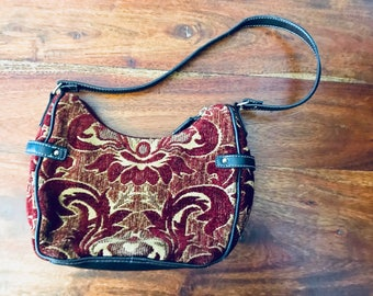 Vintage Carpet Bag Purse Tapestry Purse With Leather And Gold Birthday Gift for Her Mothers Day Gift Present