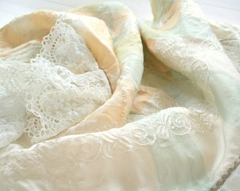 Vintage scarf with metallic hem and cotton lace, in white cream green and yellow, headscarf - hair accessory, 70's folklore traditional