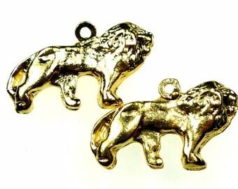 Brass charms lion gold tone metal 2pcs