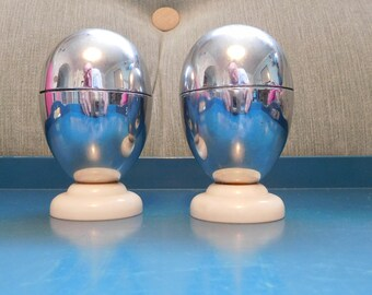 Pair 1930's Art Deco Heatmaster Insulated Egg Cups - Bakelite and Chrome
