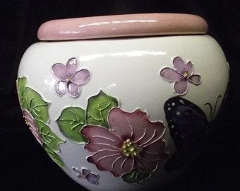 Handmade African Violet Pot Pink Dogwood and Butterflies