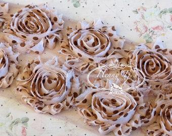 1 ONE yard Tan Rose Brown Polka Dots Print 2 1/2 inch Chiffon Shabby Rose Trim, Hair Bow. Chiffon Rossettes