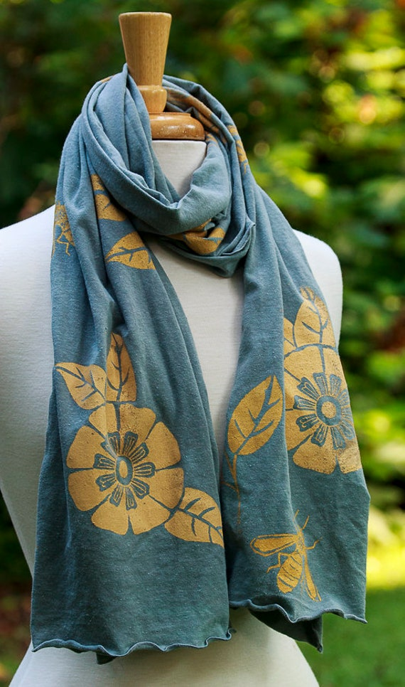 Screen Printed Scarf, Hand Made, Hand Dyed, Hand Printed Scarves, Flower and Leaf and Bee Scarf, Eco Friendly Fashion
