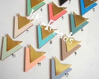 Hand Painted Laser Cut  Wood Triangles,Wooden shapes, Do it Yourself  Jewelry