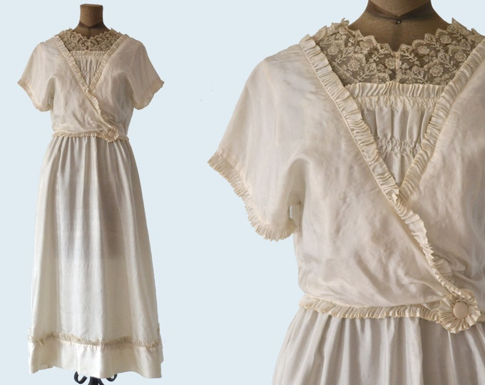 Edwardian White Silk Dress size S