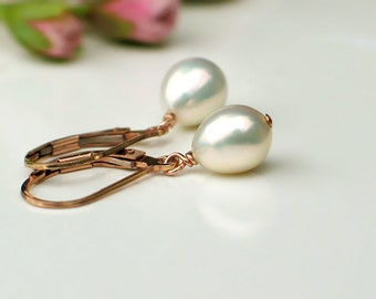 Pearl Droplet Earrings   Ivory White Freshwater Pearls   14k Rose Gold Filled Leverback Earrings   Small Pearl Dangles   Ready to Ship