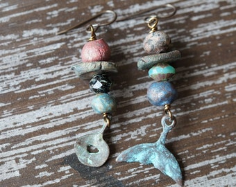 Unlisted - Nautical MisMatch Earrings - Primitive Earrings - Miss Match Boho Earrings - Ceramic Earrings - Rustic Earthy - Bead Soup Jewelry