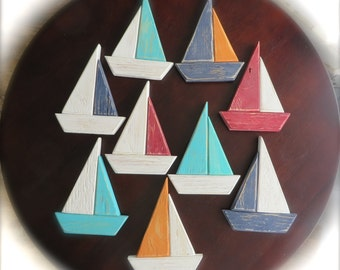 Nautical Wedding Sailboat Ornaments or Magnets -Shower, Nursery, Party Gifts Altered Nature