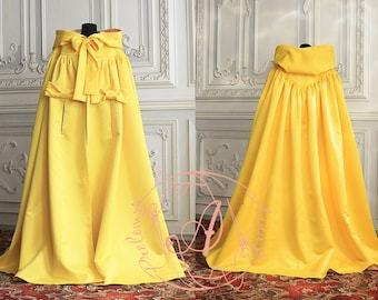 Long yellow cloak Satin hooded cape Bridal cape Princess cape Holiday outfit
