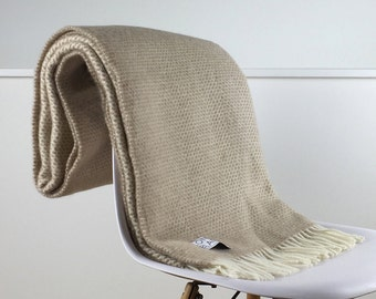 Beige Throw Blanket, 100% Wool - Beige Sofa Throw, Beige Bed Throw, Beige Wool Blankets & Throws, Any Room, Free Delivery Available
