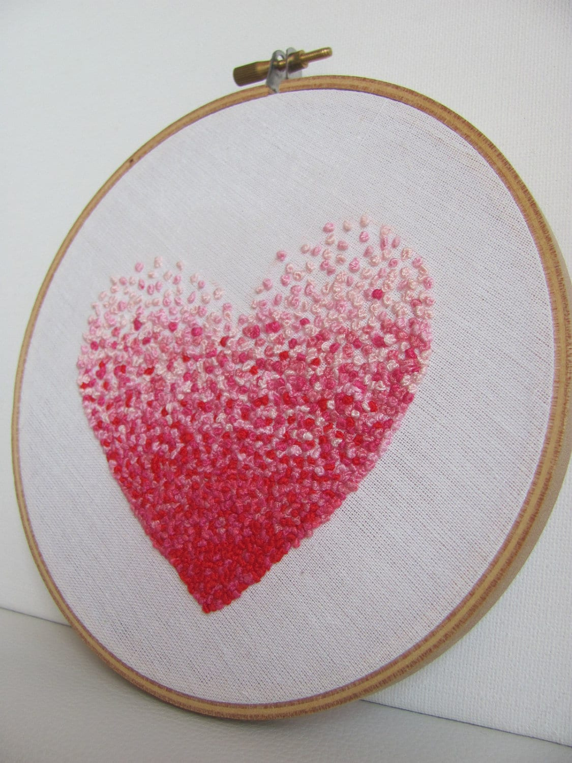 Embroidery french knot pink heart hoop art for Embroidery office design version 9