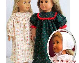 Pixie Faire Flossie Potter Old Fashioned Nightgown  Doll Clothes Pattern for 18 inch AG Dolls - PDF
