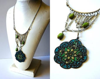 Stained Glass Style Chain Necklace