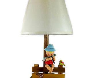Nursery Originals Childs Lamp Maple Finish Wood Figures Vintage 1950s 60s Irmi Design