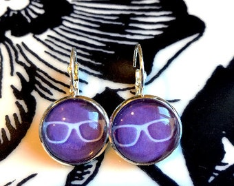 Hipster glasses cabochon earrings- 16mm