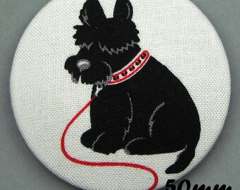 Fabric covered button - dog - Scottish Terrier - Scotties (50-03)