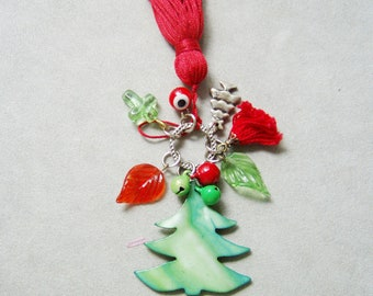 Mother of pearl Christmas tree ornament, green red charms, red tassel, mini Christmas tree, Xmas tree charm
