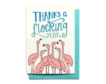Funny Thank You Card - Thanks a Flocking Lot - Flamingos - Thank You