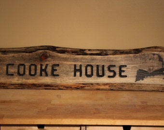 Custom Handmade Rustic Sign for Cabin or Beach House made with Live Edge Local Wood Engraved Letters