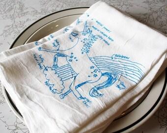 unicorn towel with magical rainbows and fluffy cloud floursack towel - floursack cotton kitchen towel gift