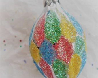 Vintage Glass Christmas Ornament Multi Colored Glittered