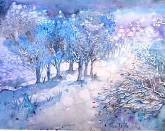 "Snowscene ""Snowfall in a  Moonlit Wood "" Watercolor painting, , Original art, Christmas Holiday Gift, Winter woods"