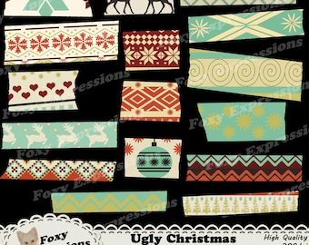 Ugly Christmas Sweater washi tape in shades of green, cream, reds, and black. Designs are deer, hearts, ornaments, trees & snow