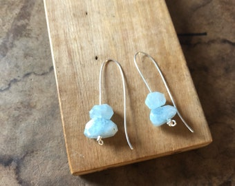 Custom order blue aquamarine quartz crystal and sterling solver drop earrings