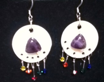Alcoholic Anonymous/Recovery Jewelry/One of kind/Southwestern/Shell Jewelry/Amathyst/Crystal/Earrings, sterling