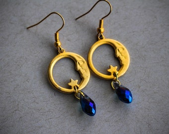 Moon Spells • Celestial crescent moon earrings with sparkling blue crystal beads