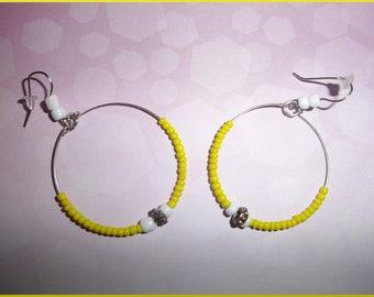 Earrings silver metal rings