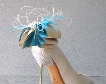Nude And Blue Satin Ribbon Bow And Feather Shoe Clips More Colors Available