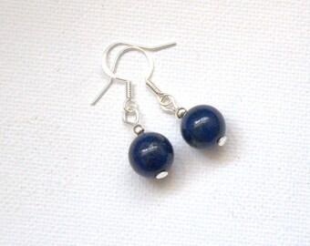 Lazuli Lapis navy blue dangle drop earrings Valentine gift for her Gemstone earrings Round Beads beaded earrings jewelry jewellery