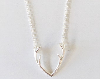 Silver Antler Necklace. Thin Chain Necklace. Layering Necklace. Antler Jewellery.