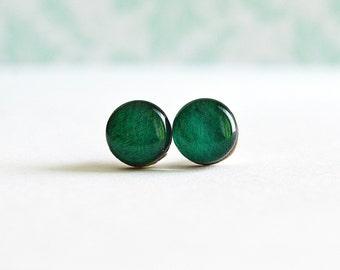boho wood earrings , green plant jewelry , boho silver studs , eco gift for her , eco earrings gift ,