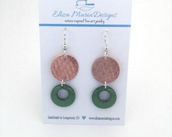 Green Earrings, Green Enamel & Copper Earrings, Handmade Green Enamel Jewelry, Textured Copper Earrings, Green Glass Earrings
