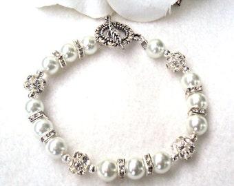 Women's White Swarovski Pearl Bracelet - CUSTOMIZE IT