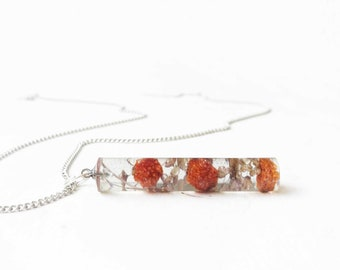 Orange berries resin necklace - plant necklace - real flower jewelry - real plants pendant - resin jewelry - terrarium necklace