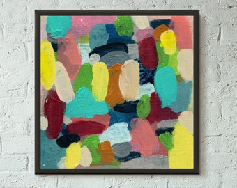 Simply Pretend 2 of 6 // Modern Abstract Art Original Bold x8 Mixed Media Acrylic Painting on Canvas Panel, Free US Shipping, Lisa Barbero