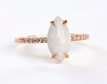 Marquise Natural White Opal Diamond Arlo Engagement Ring, 14K Gold Ring, Unique Diamond Ring, Delicate Ring 14K Gold, Silly Shiny Diamonds