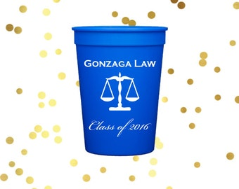 Law school graduation, personalized  plastic cups, Personalized stadium cups, graduation party favors, party cups, class of 2018 cups