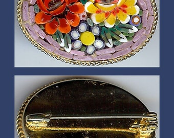 Vintage COLORFUL MICRO MOSAIC flowers pin brooch