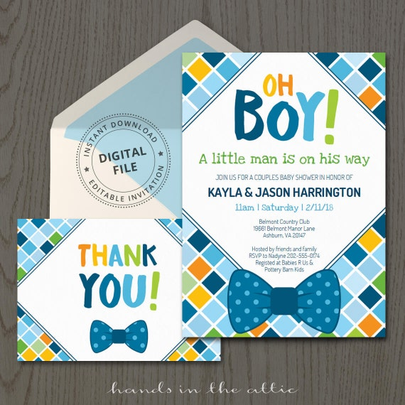 Bow tie baby shower invitations themed baby boy invitation bow tie baby shower invitations themed baby boy invitation template little man bowtie thank you card digital filmwisefo Choice Image
