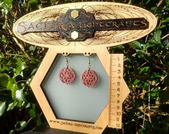 Wood Earrings with Sacred Geometry ~*~ handmade wooden design jewelry